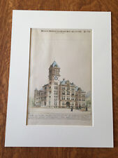 High School, Los Angeles, Ca, 1890, Preston & Son, Original Plan Hand-colored