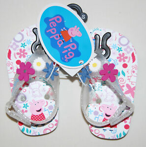 NWT Peppa Pig Toddler Girls Clear Sparkle Flower Jelly Flip Flops sz 5/6