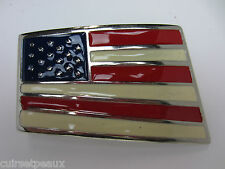 "BOUCLE DE CEINTURE METAL 40 MM EMAILLEE ""STARS AND STRIPES"""