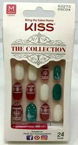 Kiss The Collection Nails 62273 Medium 24 Nails Christmas Snowflake Red NO GLUE