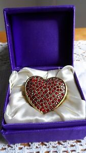 Lefton Heart Shaped Pill box with Red stones