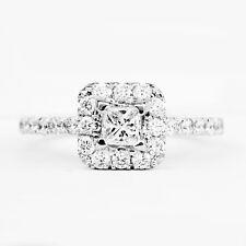 0.83 Carat Natural Princess Cut Diamond Halo Engagement Ring In 14k White Gold