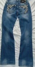 Womens Med Wash Flap Pockets MISS ME Easy Boot Denim Jeans Sz 25