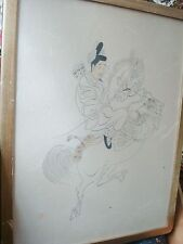 Japanese hunter signed large drawing in ink? on rice paper, artist stamp