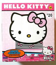 Hello Kitty Armoire Jewelry Box Organizer NEW Glitter Pink Bow Striped Drawer
