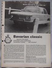 1966 BMW 1800 Original Motor Magazine Road test