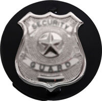 Black Round Badge Holder Shield Leather Clip On Belt for Law Enforcement Police