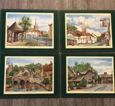"Vintage Pimpernel Set Of 4 Acrylic Placemats England Historic ""English Villages"""