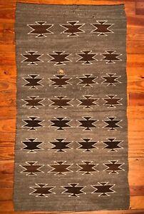 HISTORIC NAVAJO DOUBLE SADDLE BLANKET/RUG, BEAUTIFUL BROWN BACKGROUND, C1910, NR