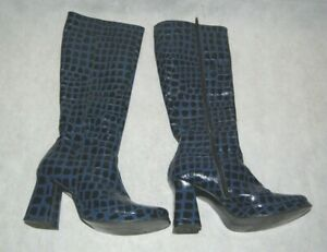 VTG SHELLYS LONDON Abstract Square Patent Leather Knee High Platform Boots UK 5