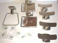 Brushed Stainless Bathroom Set Towel Ring (1) Soap Dishes (2) Robe Hooks (4)
