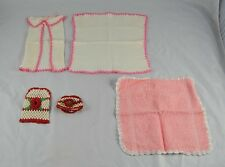 Lot of 5 Baby Items Knit Towels Shirt Bib Warmers with Rose Design C1O13