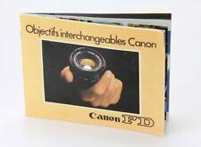 Canon FD Objectifs interchangables Canon en Français (Réf#D-038)