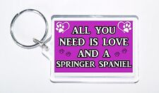 All You Need Is Love and a Springer Spaniel, Ideal Gift, Keyring For Dog Lovers