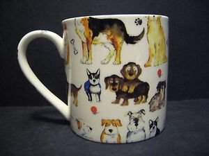 Extra Large Fine Bone China One Pint Pot Mug Cup Dogs Decorated By Crown Trent