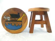 Childs Childrens Wooden Stool - Noah's Ark Step Stool