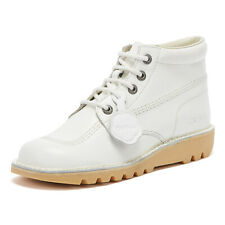 Kickers Kick Hi White Leather Boots Unisex Lace Up Winter Shoes