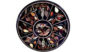 """36"""" Marble Dining Table Top Precious Parrot With Fruits Inlay Living Decors B570"""
