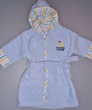 NEU! Baby Kinder Bademantel mit Kapuze Baumwolle Frottee weich Hellblau Gr 86/92
