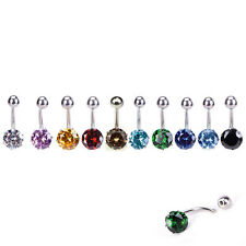 Navel Belly Button Ring Barbell Rhinestone Crystal Ball Piercing Body Jewelry XC