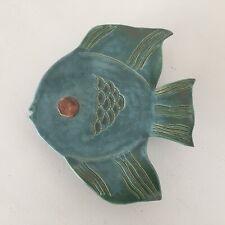 Mid Century Modern Studio Pottery Tropical Fish Angelfish Wall Pocket Planter