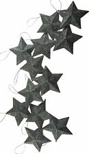 Set Of 12 Dazzling Silver Glitter Stars - Christmas Tree Baubles Decorations