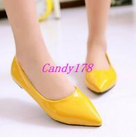 Fashion Womens Pointy Toe Faux Patent Leather Casual Dress Flats Shoes 6 Colors