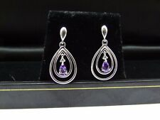 PRE OWNED 9CT WHITE GOLD DROP EARRINGS  SET WITH AMETHYST