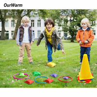 3 In 1 Carnival Games Set Plastic Cones Ring Toss with Bean Bags Kids Birthday