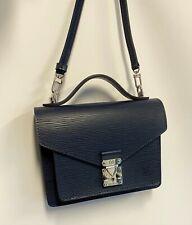 """Edle LOUIS VUITTON Handtasche """" Monceau """" - shoulder bag - navy Epi leather"""