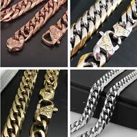 13/16mm Heavy Men's Chain 316L Stainless Steel CURB Cuban Link Bracelet Necklace