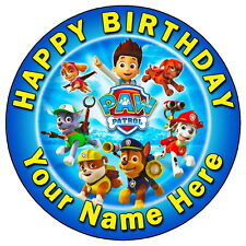 """PAW PATROL TEAM PARTY - 7.5"""" PERSONALISED ROUND EDIBLE ICING CAKE TOPPER"""