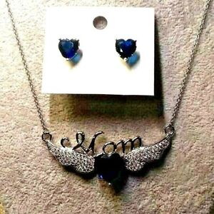 SIMULATED BLUE SAPPHIRE, WHITE CZ HEART  EARRINGS & MOM NECKLACE - SILVERTONE