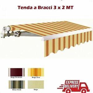 TENDA DA SOLE A BRACCI DA BOLACONE IN ALLUMINIO AVVOLGIBILE 300x200 CM ASTA INCL