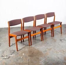 Mid Century Danish Modern Dining Chairs Dyrlund Brown Set 4 Teak Reupholstered