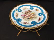 Antique (c.1850) Sevres Porcelain Compote with Bronze Dore Base Cherubs