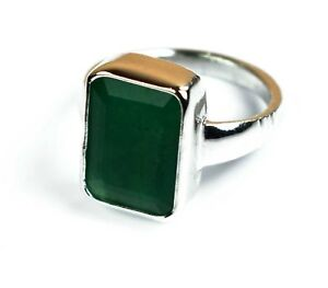 925 Unisex Sterling Silver Ring Natural Green Emerald  Gemstone Ring Size 5-10