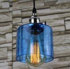 Modern Vintage Blue Glass Shade Silver Brass Handing Lamp Light Ceiling Fitting