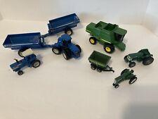 Mixed Vtg Lot John Deere Ford Oliver Ertl Farm Toy Tractor Wagons Metal/Plastic