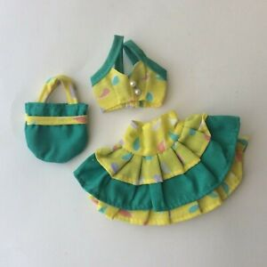 Attractive Yellow and Green Outfit for a fashion doll vintage dolls clothes