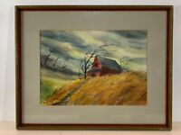 Vintage American Barn in a Storm Watercolor on Paper Signed Mary Jackson Framed