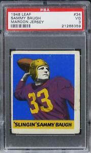 1948 Leaf Sammy Baugh MAROON JERSEY HOF ROOKIE RC #34 PSA 3 VG