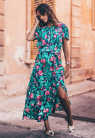 BNWT ZARA GREEN FLORAL MIDI DRESS SIZE XS