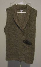 Charter Club Brown Marled Knit Thigh Length Wrap Front Sweater Vest - Size XL