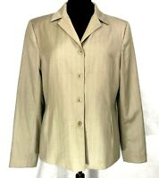 Caslon for Nordstrom Womens Wool Jacket Blazer Tan Pin Stripped Sz 14