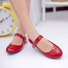 Womens Patent Leather Strap Mary Jane Flats Ballet Dance Casual Shoes Plus US Sz