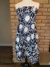 J. Crew Strapless Fit and Flare Dress Blue White Women US Size 4 Summer Party