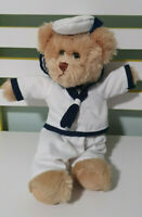 TIC TOC TEDDIES TEDDY BEAR SAILOR IN WHITE OUTFIT 35CM