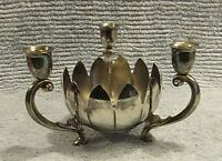 Old Leonard Silver Plate Lotus Bowl Three Candle Holder Triple 3 Footed FREE S/H