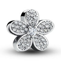 VOROC S925. Sterling Silver Charms Beads Delicate Flowers For Clear CZ Jewelry